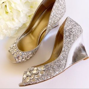 Badgley Mischka Silver Rhinestone Wedge Heels 8